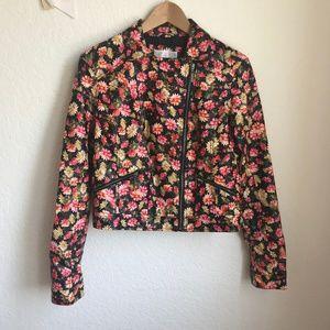 Xhilaration Juniors Faux Leather Jacket Floral L